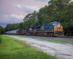 CSX O728 at Masaryktown, FL 8-5-18 (tarellsallie) Tags: csx ns up cn cp kcs canadianpacific canadiannational norfolksouthern train trains railroad railfanning evening gloomy freight brooksville florida masaryktown pasco pascocounty tampabay es44dc es40dc generalelectric grass locomotive engine canon canon5d canon5dmarkiv macbook edit lightroom copyright headlight landscape scenic scenery