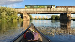 66618 crossing the Trent (Sam Tait) Tags: canoe open british river trent adventure england boat boating boats class 66 freight freightliner loco locomotive diesel ratcliffe soar power station bridge 666 66618
