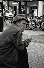 There but for the grace of God... (ianmiller6771) Tags: blackandwhite whiteblack bw streetphotography streetphotographyuk homeless weatherbeatenface fuji candid monochrome hopeless sadness street worcesteruk profile