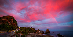 Rainbow Sunset, Oregon Coast (Darcey Prout) Tags: oregon coast or us usa d800 sunset rainbow nikon wide blue pinksky sky ocean sea america hdr sun rocks explore
