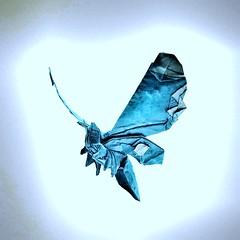 Mothra 1.0 (my design) (joigami) Tags: sculpture design toho japan kaiju gojira godzilla angel bioluminescence blue light insect bug moth butterfly origami mothra