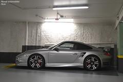Porsche 911 Turbo 997 (Monde-Auto Passion Photos) Tags: voiture vehicule auto automobile porsche 911 turbo 997 coupé gris grey sportive supercar rare rareté parking sousterrain france fontainebleau