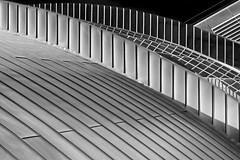 tin and glass roof (heinzkren) Tags: schwarzweis bw sw blackandwhite monochrome panasonic lumix architecture architektur pattern tin glass roof reflection building museum st pölten niederösterreich austria loweraustria blechdach glasdach spiegelung stpölten hausdernatur texture muster abstract linien lines geometry structur