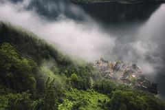 Lake Hallstatt from the Dachstein mountain (yan08865) Tags: dachstein mountain austria landscape fog forest sky lake water mist trees pavlis hallstatt alpine nature earth travel photographers rocks hike trekking