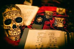 Fortune Teller (DrCuervo) Tags: skull fortuneteller ouija tarot thesatanictemple tstseattle tst womansreproductiverights benefit panasonicgh4 nikkor50mmlens affinityphoto analogefexpro