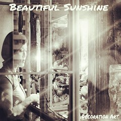 Beautiful Sunshine  Decoration Art  窓際の美しい女性が、にぎやかな街人々と光射す風景を、編集加工しました。 (nodasanta) Tags: instagramapp square squareformat iphoneography uploaded:by=instagram rise