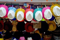 Hats (Yirka51) Tags: mart fair market vend sell selling cord suspension tariff cost price clothespin clothespeg sale kiosk stand hat tourism set series colored avenue