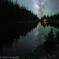 Milky Way Rising (OJeffrey Photography) Tags: lakeirene coloradorockymountains co colorado starscape stars milkyway reflection lake squareformat square nikon d850 ojeffreyphotography ojeffrey jeffowens