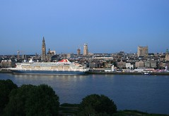 Cruise Ship MS Balmoral ...   Fred.Olsen Cruise Lines.     Docked. (Aquarius15) Tags: belgium antwerp cruiseshipmsbalmoral fredolsencruiselines ships boats spring clouds sky skyline city architecture riverscheldt water waves reflections trees docked