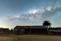 Milky Way over a Farm Shed (Merrillie) Tags: night glitter landscape winter astrophotography stars rural newsouthwales astro nsw pinetree country astronomy outside astrology tree shed milkyway gresford farm nightsky australia outdoors sky