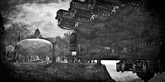 Worlds That Never Were (Loegan Magic) Tags: secondlife ruinsofxenarkforestandcaverns airships cliff water cavern trees woods balloon sky blackandwhite grunge fantasy imagination