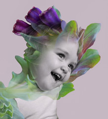 Cheeky chops (loulou_alexander) Tags: double exposure photography daughter flowers nature fairy tale purple colour cheeky chops smile sunshine