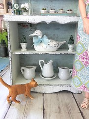 Close-up of bottom shelves. (JunqueDollBoutique) Tags: playscale dining room hutch redo diorama dio one sixth scale grace kelly barbie junque doll boutique ooak shabby cottage chic farmhouse french country home decor ironstone vintage