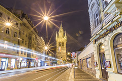 20180624_F0001: Henry's Tower (wfxue) Tags: czech prague city jindřišskávěž henrystower tower architecture old building structure tourism historical history road light trails traffic signs street night longexposure