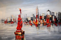 Lady Liberty, Art Painting / Oil Painting For Sale - Arteet™ (arteetgallery) Tags: arteet oil paintings canvas art artwork fine arts liberty statue new york america city skyline tourism manhattan sky water landmark usa cityscape concept business travel day freedom architecture building lady nyc cities buildings impressionism red grey paint