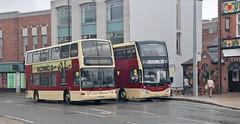 YX53 AON & BP66 VLC, East Yorkshire Motor Services Volvos, Hull, 30th. July 2018. (Crewcastrian) Tags: hull buses transport eastyorkshiremotorservices volvo plaxton president mcv yx53aon 687 bp66vlc 800