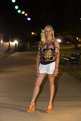 #TDIH - August 2, 2013 (WindJammer Photo) Tags: august 2013 canon 2470mml 60d outdoor portrait downtown riverwalk bridge night shorts platform highheel sandal beauty beautiful gorgeous blonde wife smile