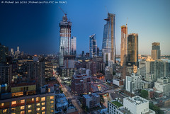 Far West Side Time Lapse (20180716-DSC03031-Edit) (Michael.Lee.Pics.NYC) Tags: newyork night day dawm morning timelapse hudsonyards manhattanwest aerial architecture construction cityscape hotelview doubletreetimessquarewest ninthavenue lincolntunnel hudsonriver wtc worldtradecenter sony a7rm2 zeissloxia21mmf28
