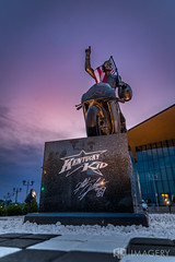 Nicky Hayden Memorial - Twilight (AP Imagery) Tags: hero brothers hometown downtown statue bronze hayden racer monument motorcycles owensboro 69 nicky remember racing kentucky usa