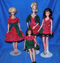 Watermelon! (toomanypictures1) Tags: mattel vintagebarbie reproduction lets dance silkstoneclothes vintageskipper mod francie