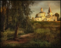 Church Of The Resurrection.Tarusa. (odinvadim) Tags: landscape mytravelgram iphoneart textured iphoneography distressedfx iphoneonly evening painterlymobileart snapseed sunset textures travel oldhouse artist old church