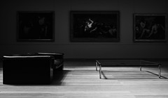 Home (Simon BOISVINET) Tags: acros fujifilm x100f photography blackandwhite aujouraumusée caen light couch table paintings woodflooring