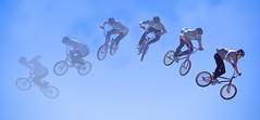 Composite of FISE World Games in Edmonton (adamlucienroy) Tags: adobephotoshop adobecameraraw telephoto sports actionsports bmx bicycle velo duvelo blue colour color 35100mm f28 sky summer panasonic lumix g9 lumixg9 fise fiseworldgames edmonton alberta canada yeg yegdt composite matte graphic design