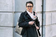 Smart & Sophisticated (Stuart Mac) Tags: stye smart woman lady candid street fashion beauty glasses d700 135mm face portrait sophisticated scarf raincoat