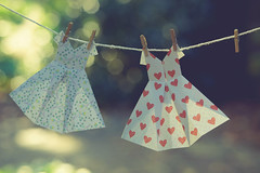 hanging out on a sunny day (gian_tg1) Tags: origami dresses handmade crazytuesdaytheme 7dwf outdoor miniatureclothespin laundry clothesline