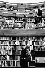 Stadsbibliotek (Douguerreotype) Tags: candid balcony library sverige monochrome people blackandwhite sweden stockholm mono city urban bw
