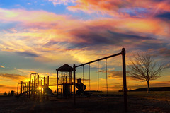 Playground Sunset (David Gn Photography) Tags: children playground kids structure sunset star bursts sun sky dramatic colors clouds evening swings slides neighborhood suburban mount scott altamont park city happy valley portland oregon clackamas county pacific northwest united states usa north america