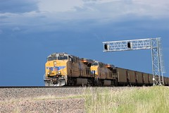 Empties Through Lost Spings (NareBNSF) Tags: up unionpacific union pacific railroad upr railway train trains traintracks rr railways railroads lostspring lost spring wy wyoming lostspringwyoming signals stormclouds plains signal coaltrains coal coaltrain easternwyoming