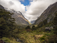 Valley Greens (RP Major) Tags: valley green milford sound new zealand mountains waterfall snow nz olympus1240f28 clouds sky landscape