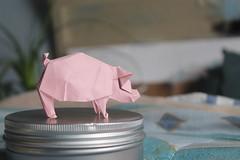 Geometric pig. (Jose_Herrera_B) Tags: origami origamimodel origamipig joseherrera joseherreraorigami tantpaper origamidesign papiroflexia