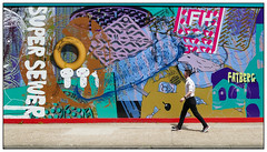 Super Sewer (donbyatt) Tags: people candid exercise u3a outing bermondsey shadthames thethamespath london mural johnwalter tideway sewerage
