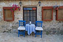 (yonca60) Tags: datca eskidatca mugla turkey street patio yard avlu oldhouses stonehouses calle casa mansion colorfulchairs table window wall