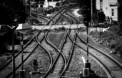 Choices (dlerps) Tags: daniellerps lerps sigma sony sonyalpha sonyalpha77 sonyalphaa77 lerpsphotography deutschland de lowersaxony harz monochrome bw blackwhite lines geometry geometric northerngermany norddeutschland europe traffic traintracks tracks vienenburg okertal trainstation railway junction