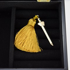 Mulan 20th Anniversary Jewelry Box - Limited Edition - Disney Store Purchase - Deboxed - Doors and Lid Opened - Closeup of Sword Ornament / Key (drj1828) Tags: mulan 20thanniversary jewelry box wood limitededition le1390 disneystore us shopdisney productinformation purchase deboxed