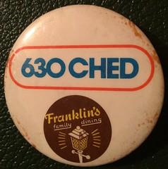630 CHED RADIO, EDMONTON--- PIN BACK BUTTON (woody1778a) Tags: edmonton edmontonhistory alberta canada pinback button history mycollection myhobby