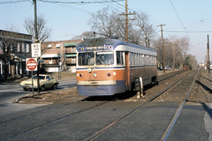 US PA Philadelphia SEPTA-PSTC Red Arrow 9 Brilliner 2-1981 (David Pirmann) Tags: pa pennsylvania philadelphia septa redarrow pstc philadelphiasuburbantransco interurban train trolley tram transit railroad