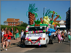 Tipper Taxi.......... (Jason 87030) Tags: ford tipper truck lorry vehicle bright color colour colourful margate parae carnival trees palm fun different road image shot canon 20d old news parrot birds people amusing entertaining entertainment wheels sunny 2018 thanet kent uk england