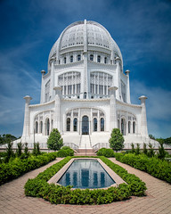 Bahá'í - Place of Reflection (Fret Spider) Tags: peace serenity beauty zen religion faith belief spirit spirituality sky clouds polarizer fountain reflection harmony love symmetry balance wideangle ultrawideangle dslr canoneos5dsr canonef24mmf14liiusm circularpolarizer temple pray heal prayer white pure prime luck fortune fate precognition chicago suburb wilmette baháí