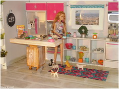 Corie and life with her cats (Mary (Mária)) Tags: doll poppyparker integritytoys pets az challenge azchallenge kitchen modern fashion rement plants pink cats cat hellokitty barefootinthepark toys food dollphotography dollphotographer dollcollector diorama miniatures props barbie mattel handmade marykorcek