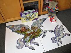 Flyin' 'orses (pefkosmad) Tags: shapedpuzzle bonuspuzzle unicornfantasy whimsies figurals shapedpieces incomplete missingpieces jigsaw puzzle hobby pastime leisure masterpieces co