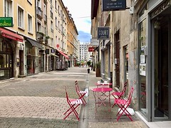 Wonderful Grenoble, France (Haytham M.) Tags: table chairs tourism space coffee beauty france grenoble street