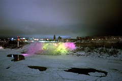 The American Falls at Night (pmvarsa) Tags: winter 2001 analog film 135 kodak kodakroyalgold royalgold 200iso nikonsupercoolscan9000ed nikon coolscan cans2s canon ftb canonftb classic camera sky snow ice niagara river water still calm shore gorge city lights night colour show newyork niagarafalls waterfall ontario canada