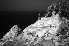 Heceta Head Lighthouse - infrared (JSB PHOTOGRAPHS) Tags: dsc606400001 hecetaheadlighthouse infrared infraredconvertedcamera nikon d70 18300mm blackandwhite