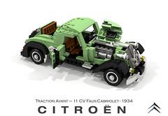 Citroen Traction Avant 11CV Faux Cabriolet (1934) (lego911) Tags: citroen 11 cv traction avant 11cv faux cabriolet coupe 1934 1930s classic vintage french france fwd auto car moc model miniland lego lego911 ldd render cad povray paris