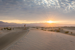 Watching the Sunrise (Chuck - PhotosbyMCH.com) Tags: photosbymch landscape sunrise woman sanddunes mesquiteflatsanddunes stovepipewells deathvalley deathvalleynationalpark california southwest usa 2017 canon 5dmkiv desert ripples mountains amargosarange summer travel outdoors crepescularrays