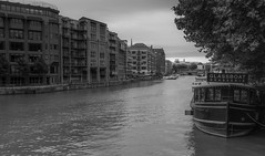 A Brasserie on a Glassboat (Ian Emerson) Tags: bristol water river avon england blackwhite outdoor canon boat brasserie restaurant tourism apartments